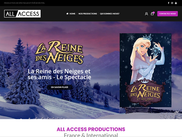 création site internet All Access Productions.fw